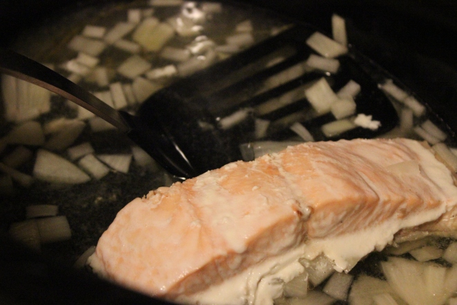 salmon in the crockpot? yes.